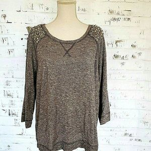INC Gray Silver Metallic Stretch Top with Pearls X